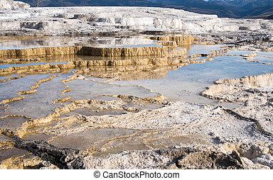 Main Travertine sinter terraces in Mammoth Hot Springs