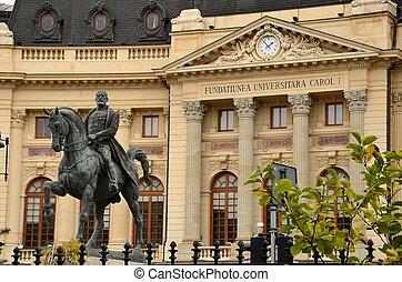 Main university: Bucharest, Romania - Street view of the...
