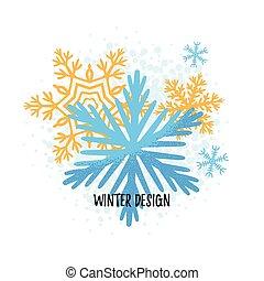 main, vecteur, dessiné, flocon de neige, noël carte