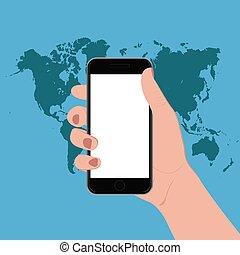 main, vecteur, intelligent, téléphone, tenue
