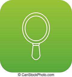 main, vecteur, vert, icône, miroir