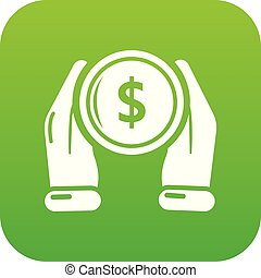 main, vecteur, vert, monnaie, icône
