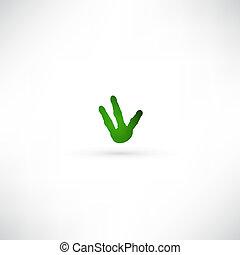 main, vert, icône