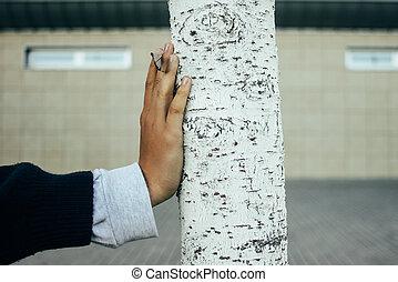 main, ville, fond, concept, la terre, protéger, sauver, arbre, urbain, environnement