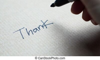 main, vous, note, remercier, écriture
