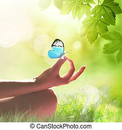 main, yoga, méditer, herbe, pose, femme