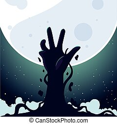 main, zombi, entiers, halloween, fond, lune