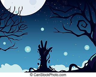 main, zombi, halloween, entiers, fond, lune