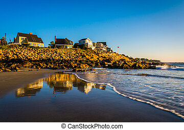 maine., överse, ocean, hus, atlanten, york, klippor