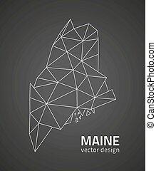 Maine black vector polygonal map