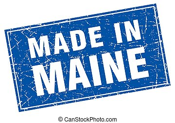 Maine blue square grunge made in stamp