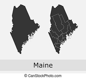 Maine counties vector map