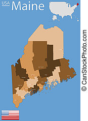 Detailed map of the State of Maine with all counties and main cities.
