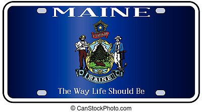 Maine Flag License Plate - Maine state license plate flag in...