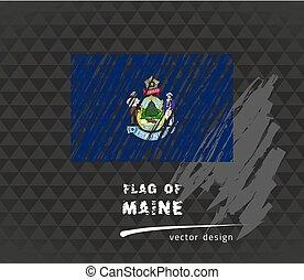 Maine flag, vector sketch hand drawn illustration on dark grunge background
