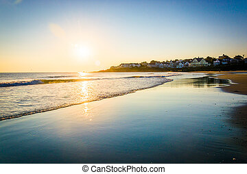 maine., hen, havet, atlantisk, york, solopgang