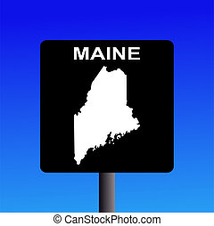 Maine highway sign - Blank maine highway sign on blue...