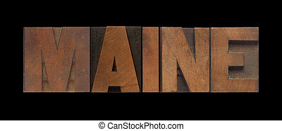 Maine in old wood type