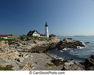 maine lighthouse - Lighthouse along the coast of Maine in ...