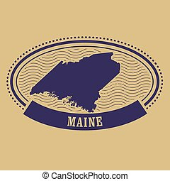 Maine map silhouette - oval stamp