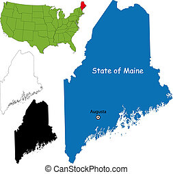 Maine map - State of Maine, USA
