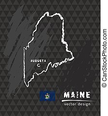 Maine map, vector pen drawing on black background