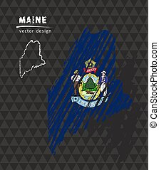 Maine national vector map with sketch chalk flag. Sketch chalk hand drawn illustration