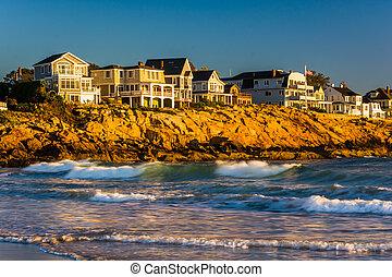maine., ocean, hus, atlanten, vågor, york, klippor
