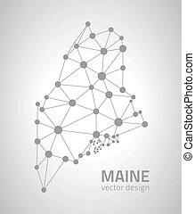 Maine outline vector grey map