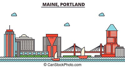 Maine, Portland.City skyline: architecture, buildings, streets, silhouette, landscape, panorama, landmarks, icons. Editable strokes. Flat design line vector illustration concept.