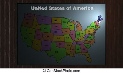 Maine pull out from USA states abbreviations map - State...