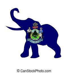 Maine Republican Elephant Flag
