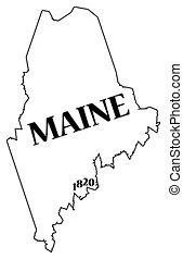 A Maine state outline with the date of statehood isolated on a white background