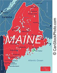 Maine state detailed editable map
