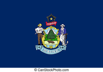 Maine state flag of America, isolated on white background.