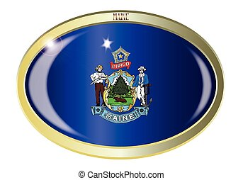 Maine State Flag Oval Button
