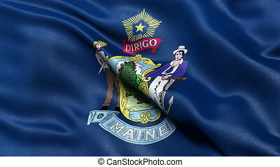 Maine state flag seamless loop
