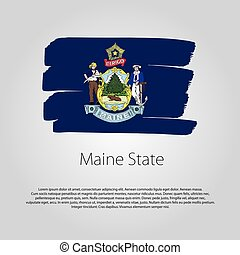Maine State Flag with colored hand drawn lines in Vector Format
