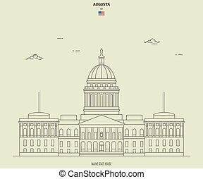 Maine State House in Augusta, USA. Landmark icon in linear style