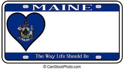 Maine state license plate in the colors of the state flag with the flag icons over a white background