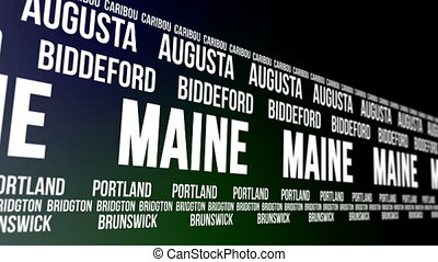 Maine State Major Cities Banner - Animated scrolling banner...