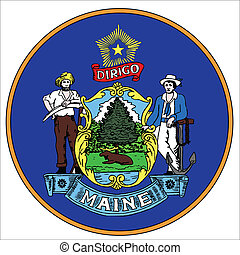 Maine state seal over a white background