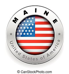 Maine Usa flag badge button
