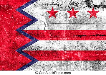 maine, usa, mur peint, drapeau, washington, sale