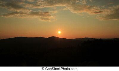 Maine USA sunset over mountains - Maine sunset over...