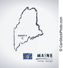 Maine vector chalk drawing map isolated on a white background