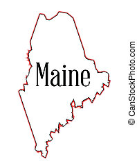Maine - Outline map of the state of Maine over white