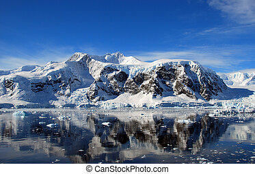 mainland antarctica - antarctica mountains reflected in sea