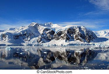 mainland antarctica - antarctica mountains reflected in sea