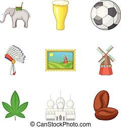 Mainland icons set, cartoon style - Mainland icons set....